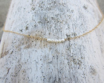 Tiny Rice Pearl Bar on Gold Filled Chain
