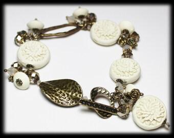 Magnolia... Handmade Beaded Jewelry Bracelet Flowers Floral Carved White Cinnabar Cream Crystal Antique Brass Dangle Lightweight