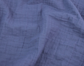 Sunny Saloo Midnight Blue - half yard - 100% cotton gauze fabric from Thailand - double gauze or muslin fabric with no grid lines