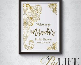 Gold Boho Elephant Bridal Shower Welcome Sign Printable DIY No. I275