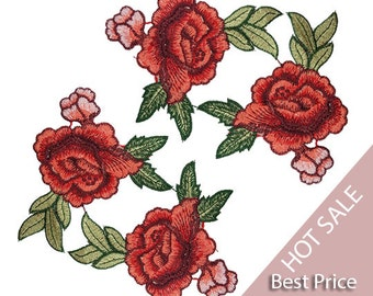 Bulk Sale Rose Patches, Embroidered Red Flowers Roses Patches Appliques 4 PCS