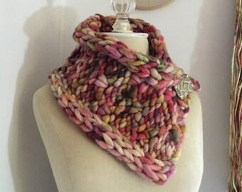 Knitting Pattern / Cowl Neckwarmer Super Bulky Chunky Oversized Texured / Rocheux / PDF DIGITAL DOWNLOAD