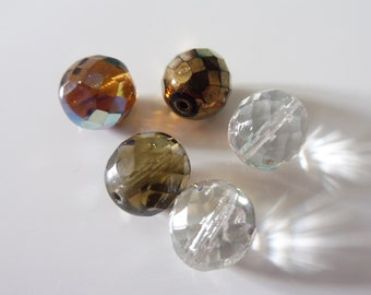 """5 oval faceted glass beads 12 x 10 mm """"assortment2"""""""