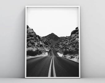 Black and White Photography, Open Road Print, Scandinavian Print, Nordic Poster, Minimalist Wall Art, Digital Download, Home Decor, Mountain