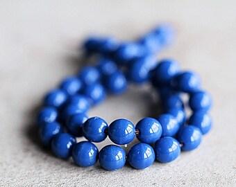 6mm Blue Czech Glass Druk Beads, Glass Round Beads (50pcs) NEW 1.2.7