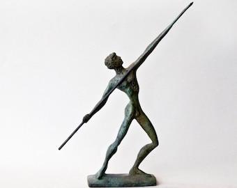 Javelin Thrower, Bronze Athlete, Ancient Greece Olympic Games, Spear Thrower, Metal Art Sculpture, Greek Statue, Museum Quality Art