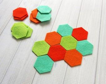 Felt Hexagons, 3/4-inch sides, Die Cut Felt Shapes, Geometric Shapes, Felt Precuts, You Choose Colors