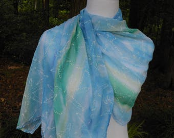 nylon shoulder wrap with starfish design, topical day to evening lightweight shawl, gift for Mother's day