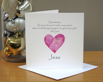 Personalised Get Well Soon Card - For Her - Washed Pink Heart - With Sympathy - Thinking Of You - Good Luck - Operation - Hospital - Cancer