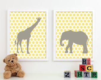 Baby Nursery Art, Safari Animal Nursery Print, Jungle Zoo Children Kids Wall Art Kids Room Playroom Baby Nursery Decor