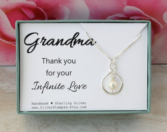 Gift for grandma birthday gift from granddaughter sterling silver infinity necklace with freshwater pearl in a gift box gift from bride