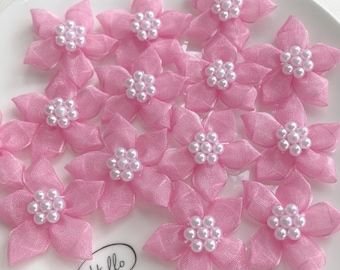 10 pcs Pink Organza Flowers Appliqué Fabric Flowers