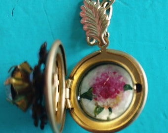 Original hand-painted hydrangea locket