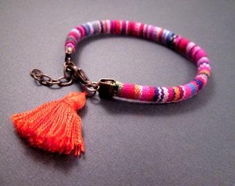 Tassel Bracelet, Colorful Cotton Stripes, Woven Bracelet, Brass Charm Bracelet, Fiber Jewelry, FREE Shipping U.S.