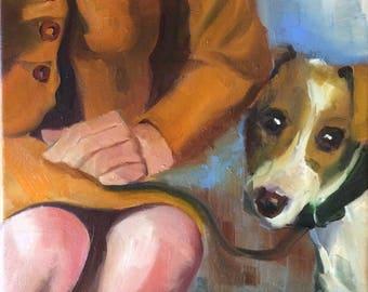 Her Dog, portrait original oil painting 12x16