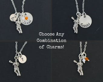 Lacrosse Gift Necklace Lacrosse Charm • Silver Sports Gift Team Necklace • Name Number Team Colors School Color Lacrosse Jewelry
