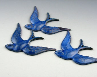One Enameled Diving Swallow  / Nitric Blue Enamel/ Made to order