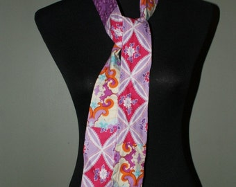 Patchwork Skinny Scarf in Pinks and Purples