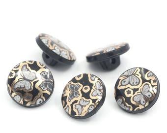 8 buttons round plastic butterflies design