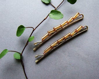 Golden Bobby Pin Set, Rustic Gold Style Hair Clips, Golden Tone Glass Bobby Pin Set