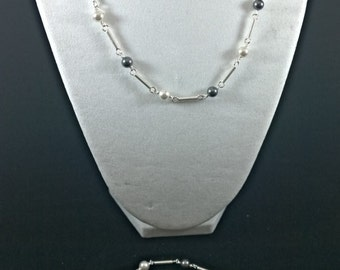 Jewelry set silver and beads chain bracelet