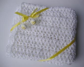 Crochet Baby Blanket, White Baby Blanket, Crocheted Baby Blankets, Acrylic Blanket, Christening Gift, New Baby Gift, Crib Size Blanket