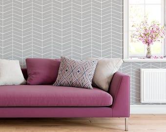 Herringbone Wallpaper, Chevron Wallpaper, Self Adhesive Wallpaper, Peel and Stick Wallpaper, Geometric Wallpaper, Wall Decal