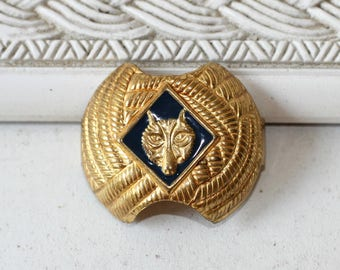 Cub Scout Neckerchief Ring | Wolf Cub Scout | Vintage 50s-60s Cub Scout Uniform Tie Slide with Wolf Head | For Cub Scouts & Cubmaster