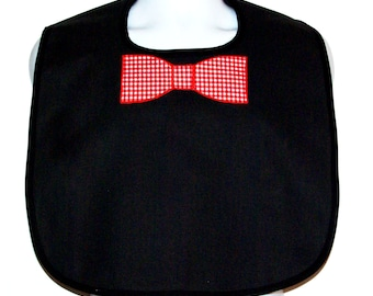 Adult Bib With Bow Tie, Custom Funny Adult Bib, Canvas, Clothing Protector, Personalized With Name, No Shipping Fee, Ready To Ship TODAY 812