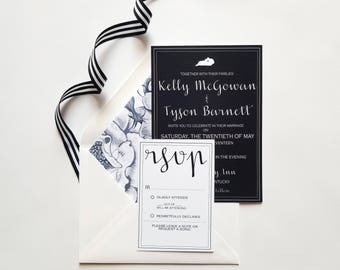 Kentucky-themed Navy Wedding Invitation Suite (with addressed envelopes and floral envelope liner)