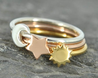 Moon ring, sun ring, star ring, half moon ring, stacking ring, personalized ring, gold ring, crescent moon ring