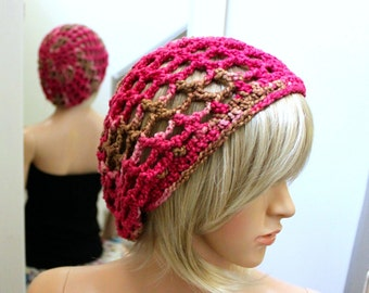 Grid Slouchy Beanie - Crocheted in Exclusive Hand Dyed 100 Pct. Cotton Yarn