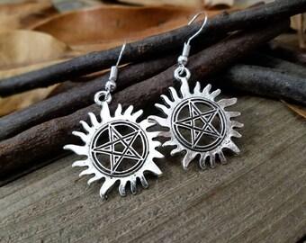 Anti possession - supernatural earrings - supernatural jewelry - anti possession earrings - silver pentagram earrings - supernatural cosplay