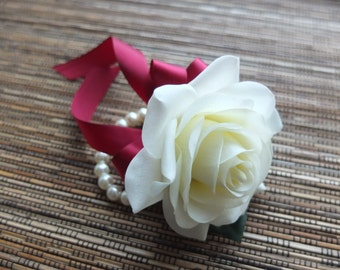Wrist Corsage, Off White Rose with Burgundy / Wine Color ribbon on pearl bracelet