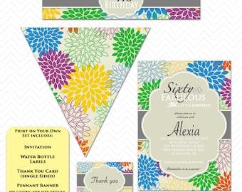 Fabulous Birthday Invitation Printable Party Set Surprise Birthday Invite Blue Yellow Green Purple Gray flower Invite