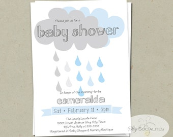 Rainclouds Baby Shower Invitation | INSTANT DOWNLOAD | Rain, Cloud, Blue, Boy Baby Shower, Its a boy, Modern, Simple, Rain Shower