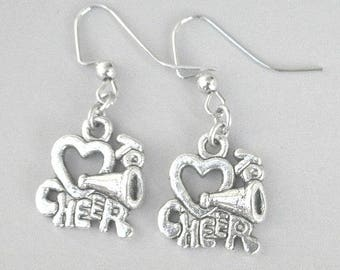 Cheerleader earrings, Love to Cheer earrings, antiqued silver, cheer mom gift