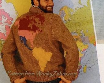 World Sweater Knit Vintage Pattern PDF 343 from WonkyZebra