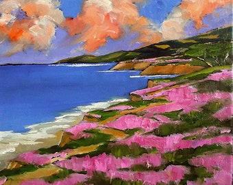 Monterey Bay Pacific Ocean Painting California Plein Air Landscape Pacific Grove Impressionist Art Lynne French O/C 12x12