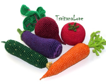 Veggies Crochet (5pcs) Small Play Kitchen Set - Vegetables Kitchen Decoration - Realistic Pretend Food Toys - Grocery play  Restaurant decor