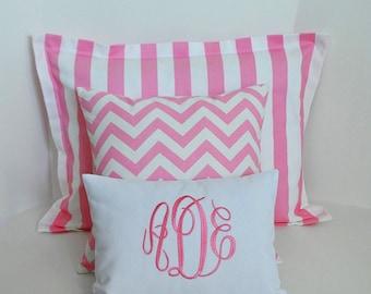Pink Sham Pillow Set Girls Room Bedding, Baby Room Bedding Standard Sham and Accent Pillows