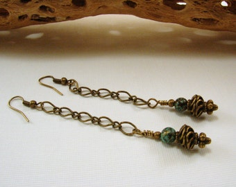 Antique Brass Chain and Bead Dangle Earrings