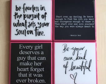 Inspirational . Decorative 4x4 tile coasters