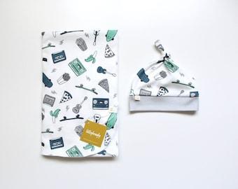 Swaddle Blanket / Baby Gift / Baby Blanket / Receiving Blanket / Retro baby theme / Swaddle Set / 90's baby / Music Baby Theme / Baby Boy