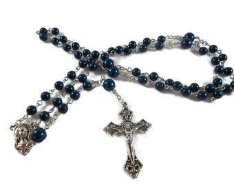 Deep Blue Swarovski Pearl Rosary