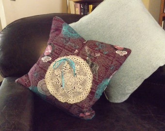 Vintage Stags and Crochet Cotton Cushion