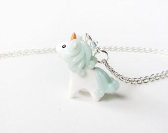 Blue Ice Quartz Miniature Unicorn Charm Necklace