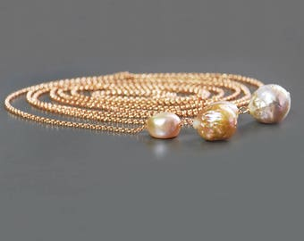 Rose Gold Baroque Pearl Lariat. Multi Color Baroque Pearl Gold Filled Lariat. Long Chain Pearl Necklace