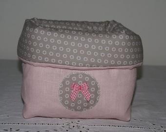 Fabric basket Organizer padded powder pink linen and beige flowers