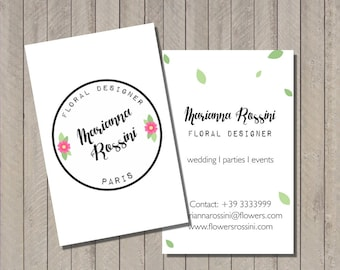 Premade business card, floral business card,
